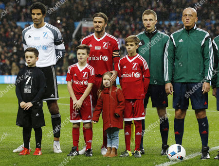 David James, Cruz Beckham, David Beckham, Harper Beckham, Romeo Beckham and Pierluigi Collina