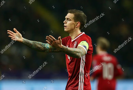Daniel Agger of Denmark reacts during the UEFA EURO Qualifiers First playoff round match between Sweden and Denmark played at the Friends Arena, Stockholm on November 14th 2015