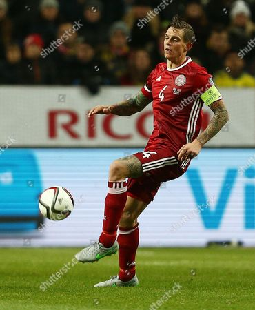 Daniel Agger of Denmark during the UEFA EURO Qualifiers First playoff round match between Sweden and Denmark played at the Friends Arena, Stockholm on November 14th 2015