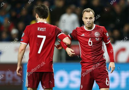 Lars Jacobsen of Denmark and William Kvist during the UEFA EURO Qualifiers First playoff round match between Sweden and Denmark played at the Friends Arena, Stockholm on November 14th 2015