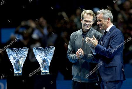 Roger Federer of Switzerland receives the Stefan Edberg Sportsmanship award at the ATP World Tour Finals, The O2, London, 2015