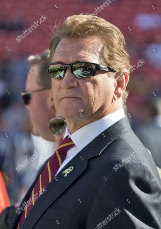 Legendary Washington Redskins quarterback Joe Theismann watches the warm-ups prior to the game against the New Orleans Saints at FedEx Field in Landover, Maryland.