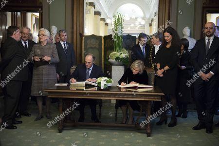 Queen Paola, King Albert II, Siegried Bracke, Charles Michel, Didier Reynders, Christine Defraigne