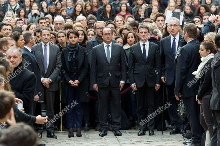 French Minister for Higher Education and Research Thierry Mandon (center L-R), French Education Minister Najat Vallaud-Belkacem, French President Francois Hollande and French Prime Minister Manuel Valls observe a minute of silence for the victims of the 13 November attacks, at the Sorbonne University in Paris, France