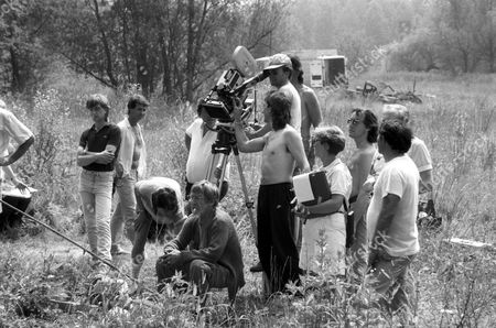 Patrick Troughton with the film crew in 'The Dead of Jericho' Episode