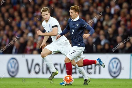 Antoine Griezmann of France and Eric Dier of England during the England and France International Friendly Match at Wembley Stadium, London.