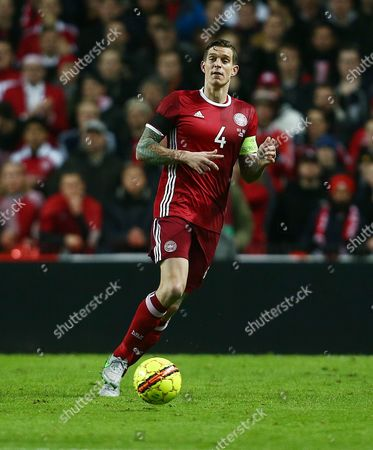 Daniel Agger of Denmark during the UEFA EURO Qualifiers Second playoff round match between Denmark and Sweden played at the Telia Parken Stadium, Copenhagen on November 17th 2015