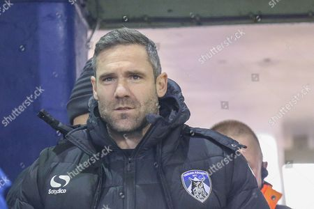 Oldham Athletic Manager David Dunn  during the The FA Cup first round match between Oldham Athletic and Mansfield Town at Boundary Park, Oldham