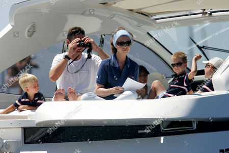 Prince Miguel, Inaki Urdangarin, Queen Sofia and Prince Juan on the royal boat 'Somni'