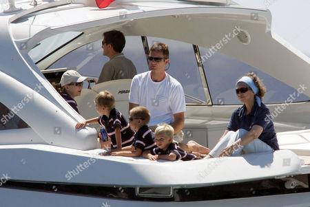 Princess Cristina, Prince Pablo, Prince Juan, Inaki Urdangarin, Prince Miguel and Queen Sofia on the royal boat 'Somni'