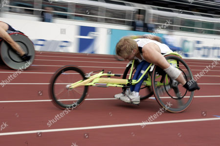Leo Pekka Tahti of Finland competes in the 100 m Wheelchair