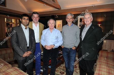 Jonathan Mcevoy Motor Racing Round Table At Sir Jackie Stewart's Home L-r Karun Chandhok Jonathan Mcevoy Sir Jackie Stewart Damon Hill And John Watson.