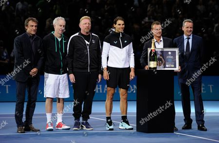 Mats Wilander, John McEnroe, Boris Becker, Rafael Nadal and Chris Kermode present Lleyton Hewitt (2nd right) with the ATP Roll of Honour during Day Four of the Barclays ATP World Tour Finals 2015 played at The O2, London on November 18th 2015