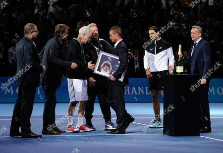Mats Wilander, John McEnroe, Boris Becker, Rafael Nadal and Chris Kermode present Lleyton Hewitt with the ATP Roll of Honour during Day Four of the Barclays ATP World Tour Finals 2015 played at The O2, London on November 18th 2015