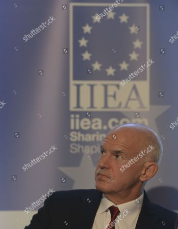 Stock Image of George Papandreou addresses at Institute of International and European Affairs (IIEA) during A New Vision for Europe and Greece: The Only Way Forward talk