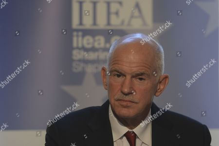 Stock Picture of George Papandreou addresses at Institute of International and European Affairs (IIEA) during A New Vision for Europe and Greece: The Only Way Forward talk