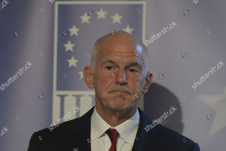 Stock Photo of George Papandreou addresses at Institute of International and European Affairs (IIEA) during A New Vision for Europe and Greece: The Only Way Forward talk