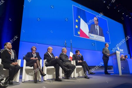 Christiane Taubira, Marylise Lebranchu, Jean-Yves Le Drian, Gerard Larcher, Manuel Valls, Francois Hollande