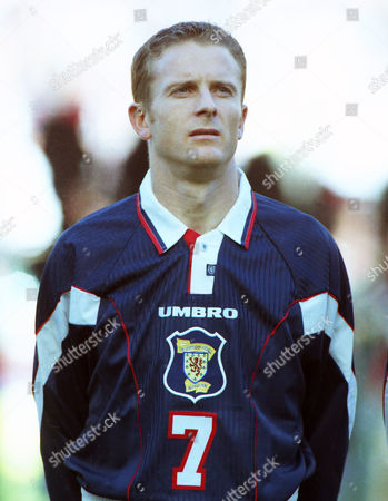 Stock Image of Football - 1997 World Cup Qualifier - Scotland 2 Latvia 0 Scotland's Kevin Gallacher at Celtic Park, Glasgow