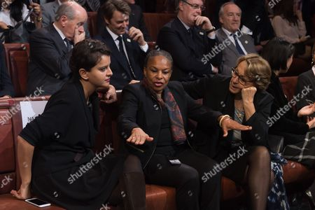 French Education Minister Najat Vallaud-Belkacem, French Justice minister Christiane Taubira and French Minister for State Reform, Decentralisation and Public Administration, Marylise Lebranchu