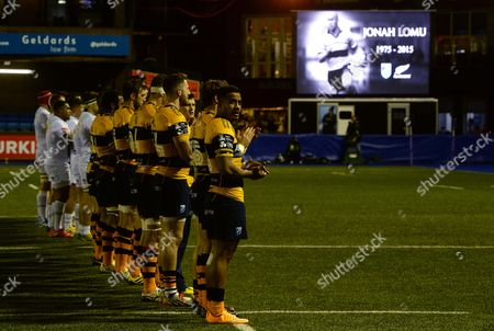 Cardiff Blues players during a minutes applause in memory of Jonah Lomu.