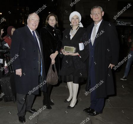Stock Photo of Lord Julian Fellowes, Philippa Braithwaite, Emma Fellowes, Martin Clunes