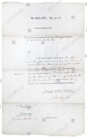 Document signed by Arthur Wellesley, 1st Duke of Wellington  from the Hooton Pagnell Hall collection