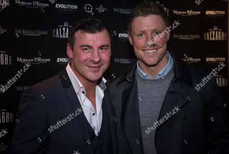 Joe Calzaghe with Welsh rugby star Rhys Priestland
