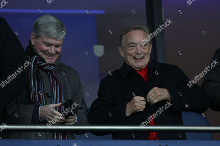 Arsenal director Ken friar enjoys a joke with Pat Rice during the Barclays Premier League match between West Bromwich Albion and Arsenal played at The Hawthorns, West Bromwich, on November 21st 2015