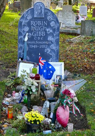 Editorial photo of The graves of Robin and Andy Gibb at St Marys Churchyard, Thame, Oxfordshire, Britain - 21 Nov 2015