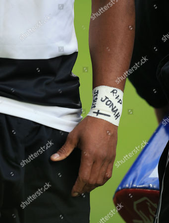Waisake Naholo of the Barbarians and New Zealand has RIP Jonah written on his bandage in memory of Jonah Lomu.