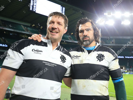 Bakkies Botha (left) and Victor Matfield of the Barbarians and South Africa after the game.