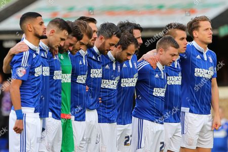 Stock Image of Ipswich Town players line up during the minutes silence held in respect for the terror attacks in Paris and in remembrance of former goalkeeper, Marton Fulop - Ipswich Town v Wolverhampton Wanderers, Sky Bet Championship, Portman Road, Ipswich. 21.11.15. Picture by Richard Calver