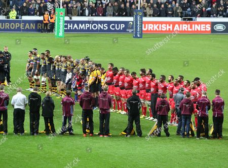 Both teams line up for a minutes silence to honour the victims of the Paris bombings and Jonah Lomu during the European Rugby Champions Cup match between Wasps and Toulon played at The Ricoh Arena, Coventry, on November 22nd 2015