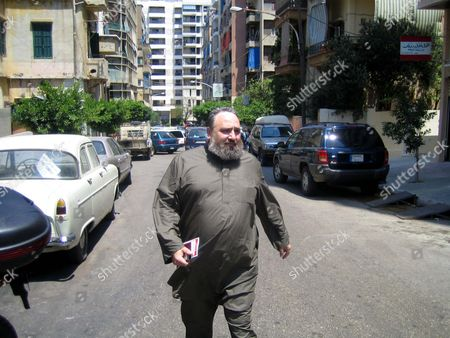 Stock Photo of Outspoken cleric Shiekh Omar Bakri Mohammad on his way to give an interview with Future TV in Beirut shortly before his arrest