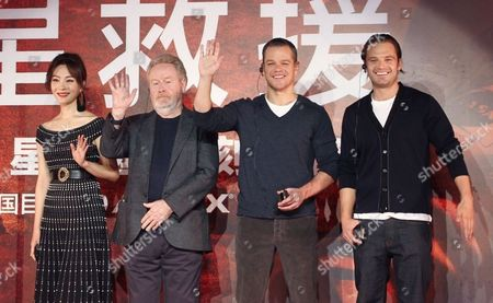 Chen Shu, Ridley Scott, Matt Damon and Sebastian Stan