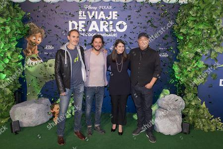 (R-L) Director Peter Sohn, producer Denise Ream, singer Manuel Carrasco and animator Juan Carlos Navarro