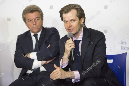 Alain Joyandet and Guillaume Larrive during the conference of les republicains about their mission for the security against the terrorism in France