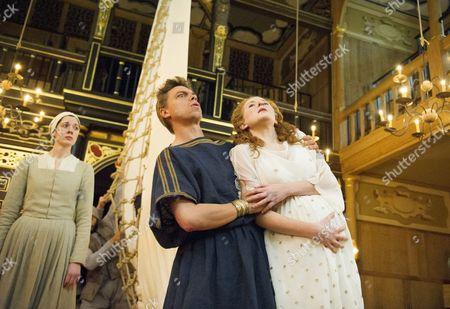 Kirsty Woodward as Lychorida, James Garnon as Pericles, Dorothea Myer-Bennett as Thaisa