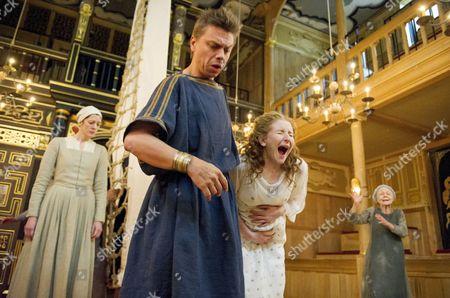 Kirsty Woodward as Lychorida, James Garnon as Pericles, Dorothea Myer-Bennett as Thaisa, Sheila Reid as Gower