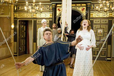 Kirsty Woodward as Lychorida, James Garnon as Pericles, Dorothea Myer-Bennett as Thaisa,