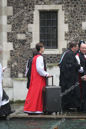 The Rt Reverend Libby Lane, Bishop of Stockport - first female Bishop arrives at Church House - with her luggage.