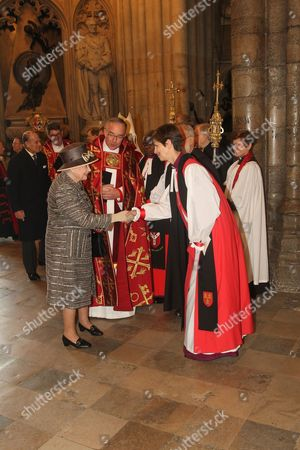 Queen Elizabeth II meets Rt Reverend Libby Lane, Bishop of Stockport - first female Bishop.