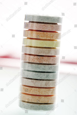 Roll of multicoloured grape sugars
