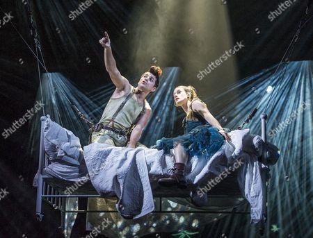 Stock Image of Rhys Rusbatch as Peter,  Mariah Gale as Wendy
