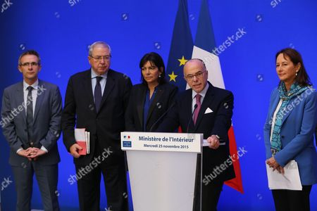 Stephane Troussel, Jean-Paul Huchon, Anne Hidalgo, Bernard Cazeneuve and Segolene Royal