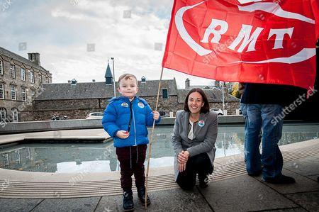 Editorial image of RMT protest outside the Scottish parliament, Edinburgh, Scotland - 25 Nov 2015