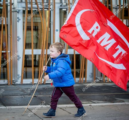 Stock Image of Four year old Jack MacDonald, from Inchinnan, who accompanied his father, John, a ferry worker to the protest