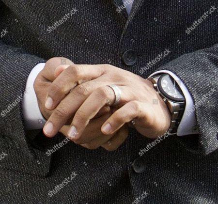 George Kay wearing his wedding ring