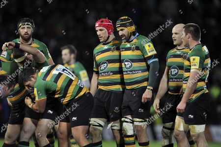 Victor Matfield and the rest of the Northampton Saints forwards pack down for a scrum